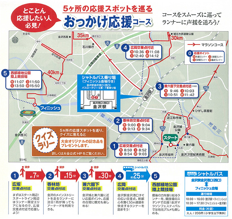 金沢マラソン2016おっかけ応援コース